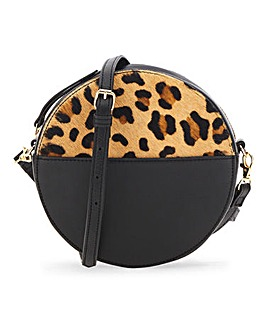 Circle Black & Leopard Suede Bag