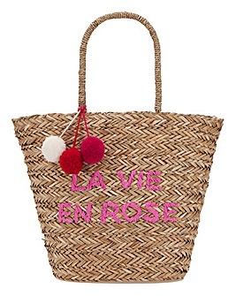 La Vie En Rose Basket Weave Large Tote