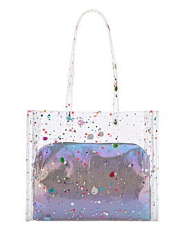Multi Sequin Transparent Beach Bag