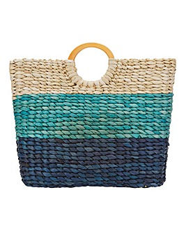 Straw Blue Stripe Beach Bag
