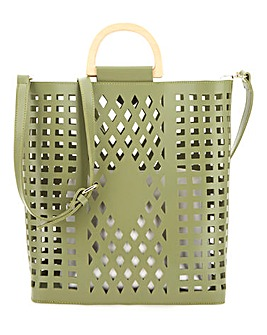 Lasercut Wooden Handle Green Tote