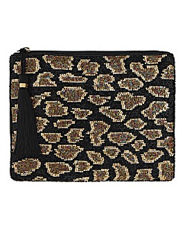 Beaded Leopard Soft Clutch