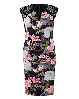 Joanna Hope Scuba Dress with Lace