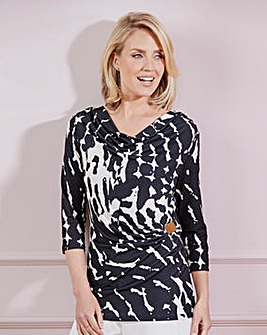 Nightingales Mono Print Jersey Top