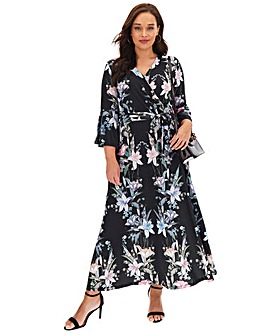 Joanna Hope Black Print Wrap Maxi Dress