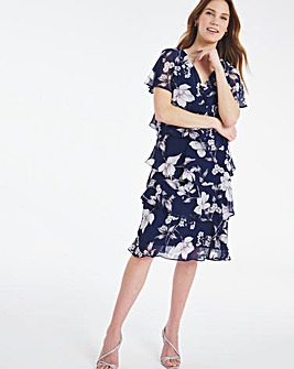 Nightingales Navy Print Tiered Dress