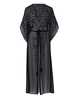 Joanna Hope Black Beaded Maxi Kaftan