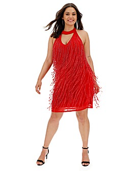 Joanna Hope Red Beaded Tassle Dress