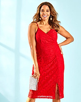 Joanna Hope Red Stretch Lace Cami Dress