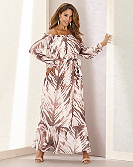 Joanna Hope Zebra Maxi Boho Dress
