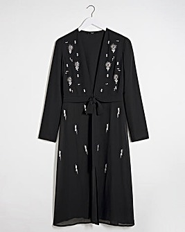 Joanna Hope Jewel Trim Longline Jacket