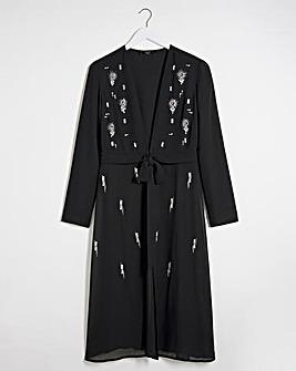 Joanna Hope Jewel Trim Longline Jacket