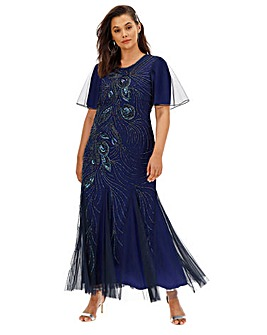 Joanna Hope Peacock Beaded Maxi Dress
