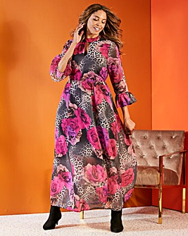 Joanna Hope Animal Rose Print Maxi Dress