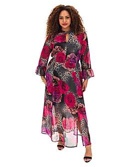 Joanna Hope Animal Rose Print Maxi Dress