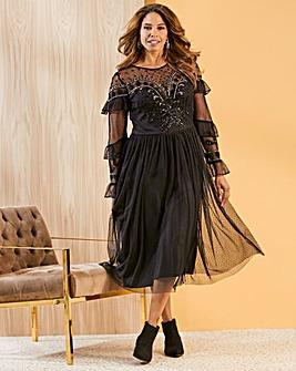 Joanna Hope Western Beaded Midi Dress