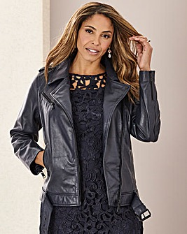 Joanna Hope Navy Leather Biker Jacket