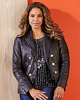 Joanna Hope Leather Blazer