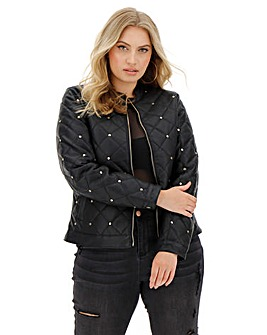 Joanna Hope Stud Faux Leather Jacket