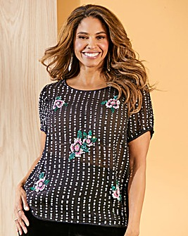 Joanna Hope Beaded Floral Top