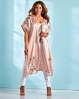 Joanna Hope Satin Embroidered Kimono
