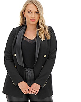 Joanna Hope Gold Button Black Tuxedo Jacket