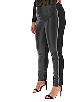 Joanna Hope Faux Leather Diamante Trim Trouser