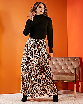 Joanna Hope Satin Animal Wrap Maxi Skirt