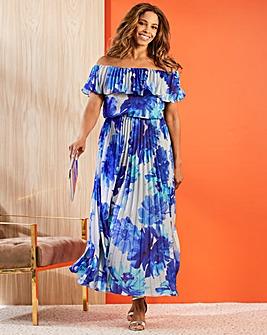 Joanna Hope Bardot Pleat Maxi Dress