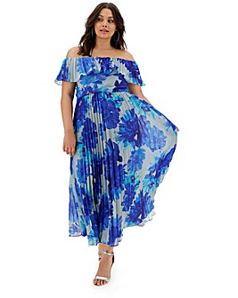 Joanna Hope Bardot Pleat Maxi Dress