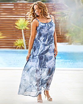 Joanna Hope Feather Print Maxi Dress