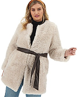 Joanna Hope Teddy Faux Fur with Belt