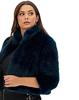 Joanna Hope Teal Faux Fur Crop Jacket