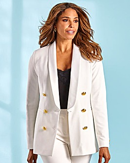 Joanna Hope Gold Button Ivory Tuxedo Jacket