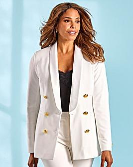 Joanna Hope Gold Button Ivory Tuxedo Jacket