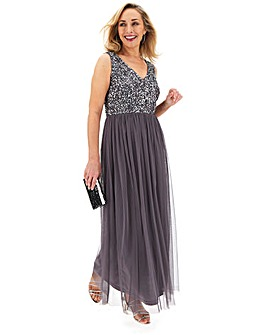 Joanna Hope Gunmetal Beaded Bodice Maxi Dress