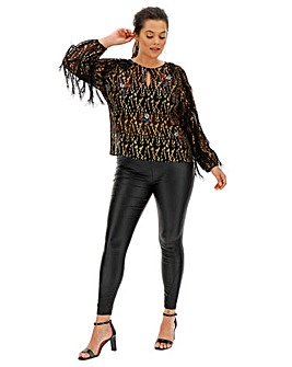 Joanna Hope Gold Embellished Blouse
