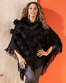 Joanna Hope Fur Trim Poncho