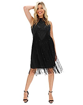 Joanna Hope Deco Fringe Beaded Dress