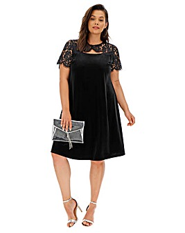 Joanna Hope Velour Lace Swing Dress