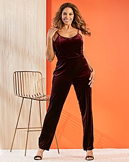 Joanna Hope Stretch Velour Jumpsuit