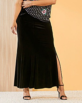 Joanna Hope Velour Maxi Skirt