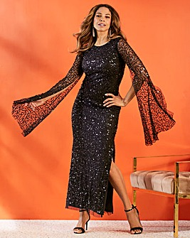 Joanna Hope Sequin Cape Sleeve Dress