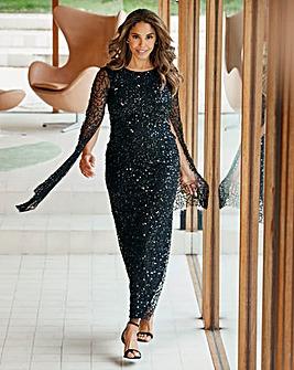 Joanna Hope Sequin Cape Sleeve Dress