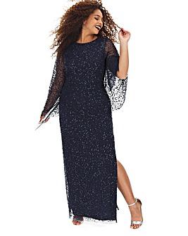 Joanna Hope Sequin Cape Sleeve Maxi
