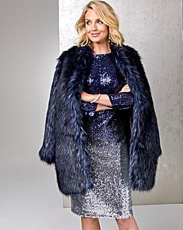 Joanna Hope Navy Tipped Fur Coat
