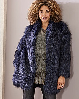 Joanna Hope Navy Tipped Fur Coat
