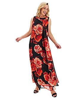 Joanna Hope Red Print Maxi Swing Dress