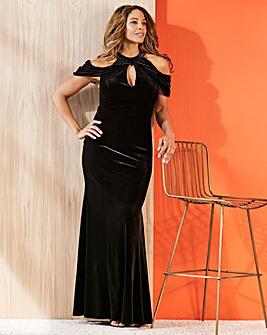 Joanna Hope Velour Cold Shoulder Maxi Dress