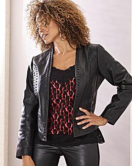 Joanna Hope Leather Eyelet Jacket